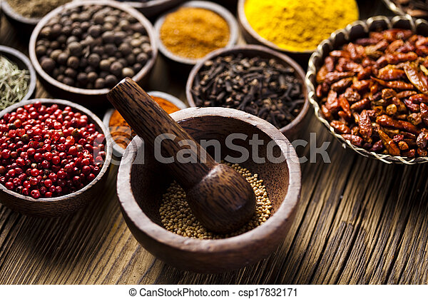 Spice Still Life, wooden bowl - csp17832171