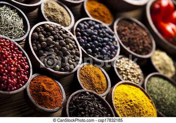Spice Still Life, wooden bowl - csp17832185