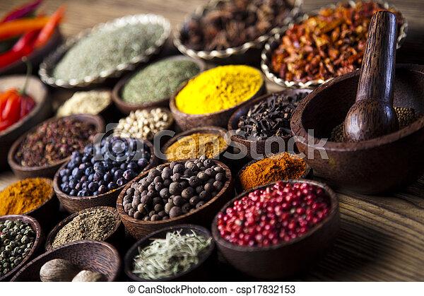 Spice Still Life, wooden bowl - csp17832153