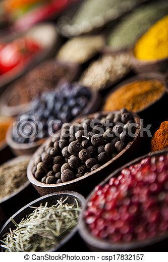 Spice Still Life, wooden bowl - csp17832157