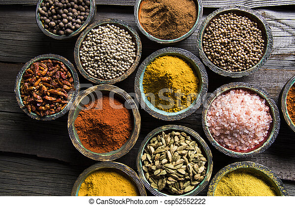 Spice Still Life, wooden bowl - csp52552222