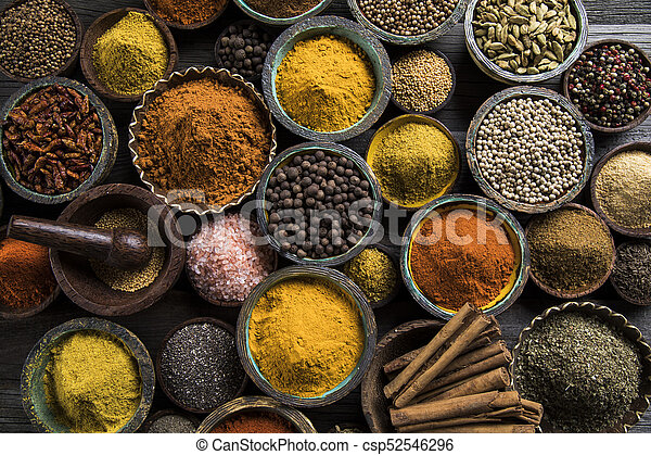 Spice Still Life, wooden bowl - csp52546296