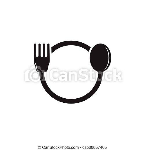 spoon fork circle geometric logo vector - csp80857405