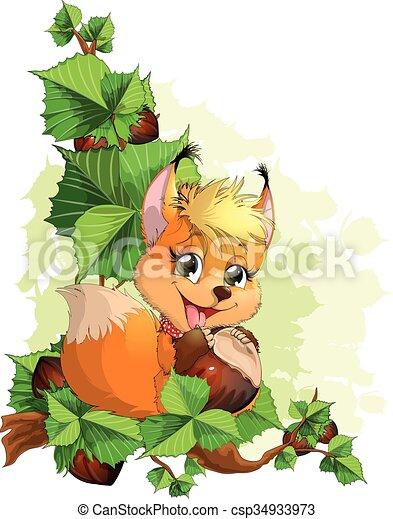 squirrel on a tree with nuts - csp34933973