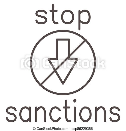 Stop sanctions sign thin line icon, economic sanctions concept, warning sign with crossed arrow down on white background, prohibition economic sanction icon in outline style. Vector graphics. - csp86229356