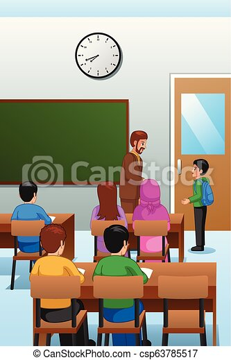 Students and Teacher in the Classroom Illustration - csp63785517
