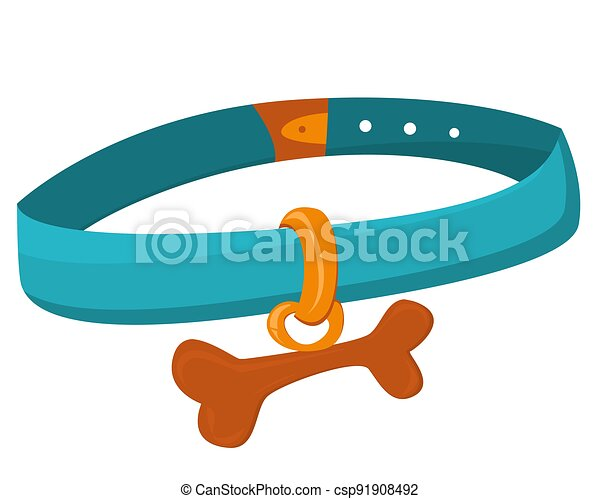 Stylish collar for pets. Collar with a bone for cats and dogs. Blue collar for dogs with a keychain in the form of a bone isolated on a white background. Pet accessories, pet care Pet accessories - csp91908492