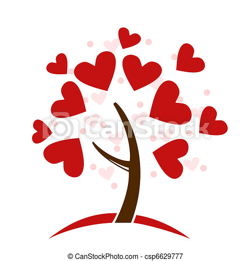 stylized love tree made of hearts - csp6629777