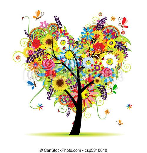 Summer floral tree, heart shape - csp5318640