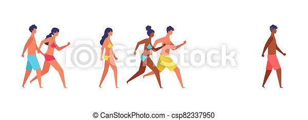 Summer people of various races are walking. - csp82337950
