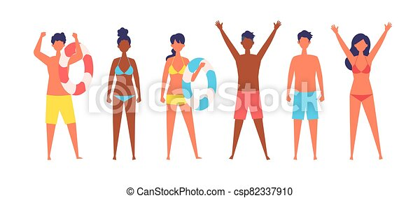 Summer people of various races are standing. - csp82337910