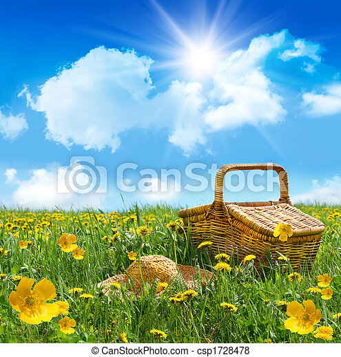 Summer picnic basket with straw hat in a field - csp1728478