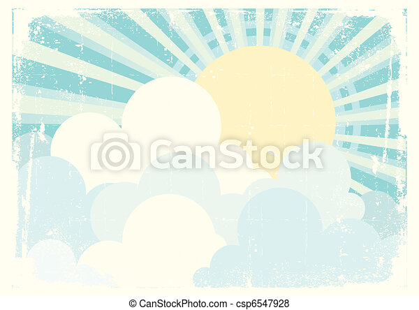 Sun and blue sky with beautifull clouds. Vintage vector image - csp6547928