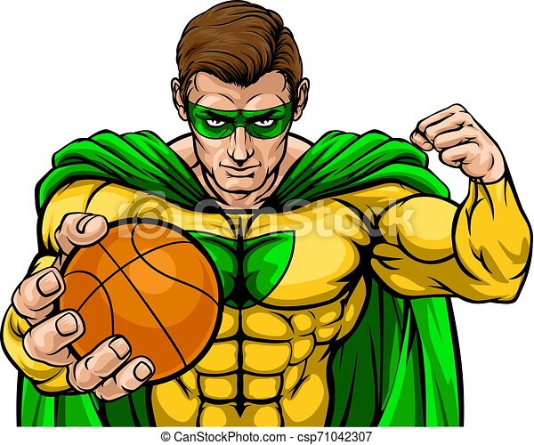 Superhero Holding Basketball Ball Sports Mascot - csp71042307
