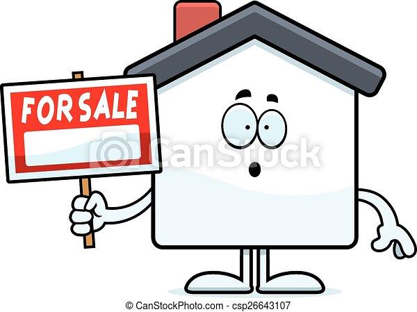 Surprised Cartoon Home Sale - csp26643107