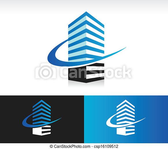 Swoosh Modern Building Icon - csp16109512