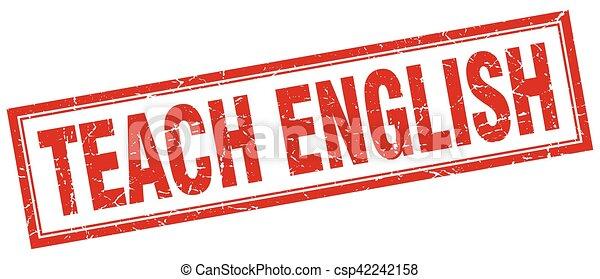 teach english square stamp - csp42242158