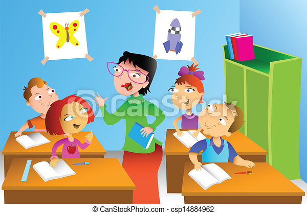 Teacher and student in the classroom - csp14884962
