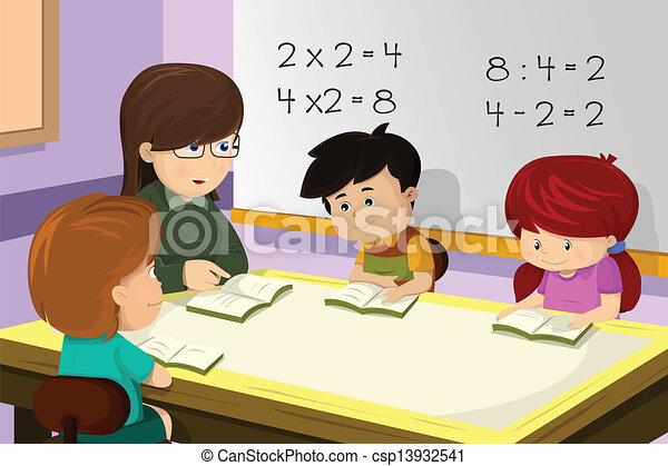 Teacher and student in the classroom - csp13932541