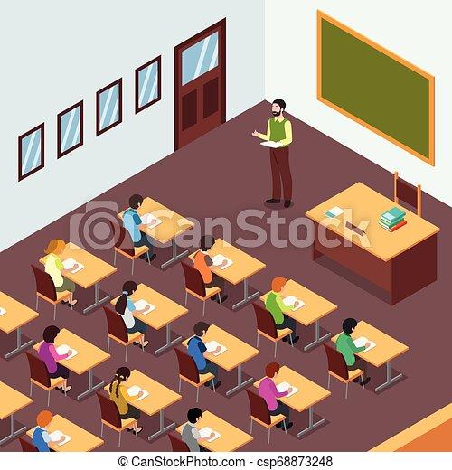 Teacher Student in Classroom in Isometric Illustration - csp68873248