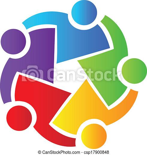 Teamwork business people logo - csp17900848