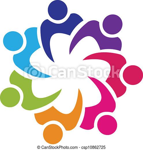 Teamwork union people logo vector - csp10862725