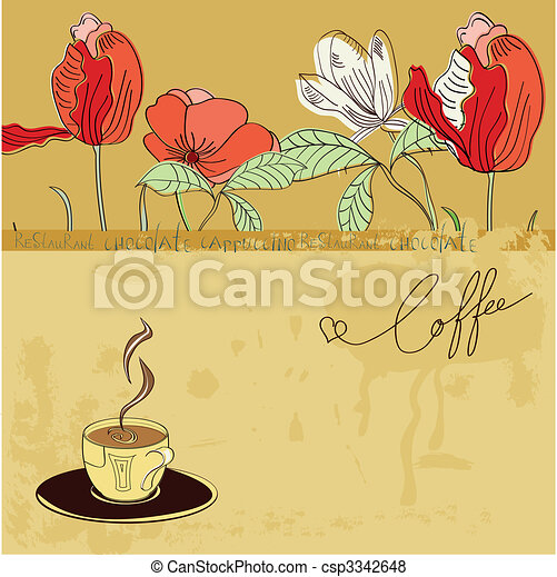 Template with a cup of coffee - csp3342648