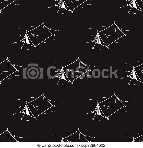 Tent Seamless Pattern Camping Picnic Vector repeat wallpaper isolated tile background illustration - csp72984622