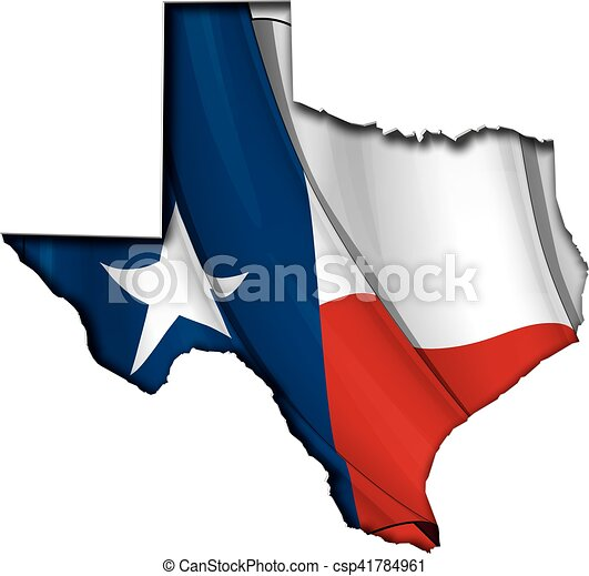 Texas Cut Out Map Inner Shadow with Flag Underneath - csp41784961