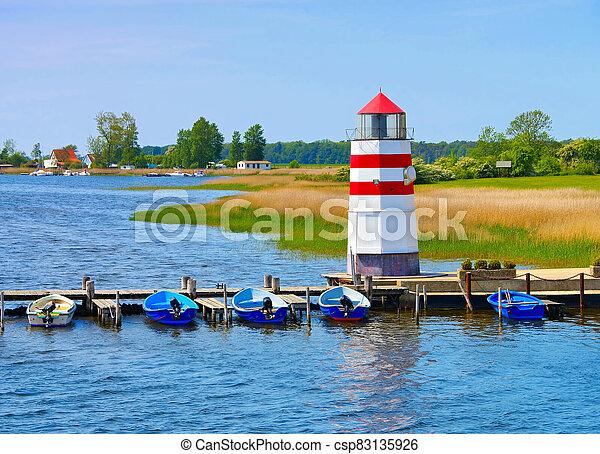 the lighthouse on island Ummanz, Ruegen in Germany - csp83135926