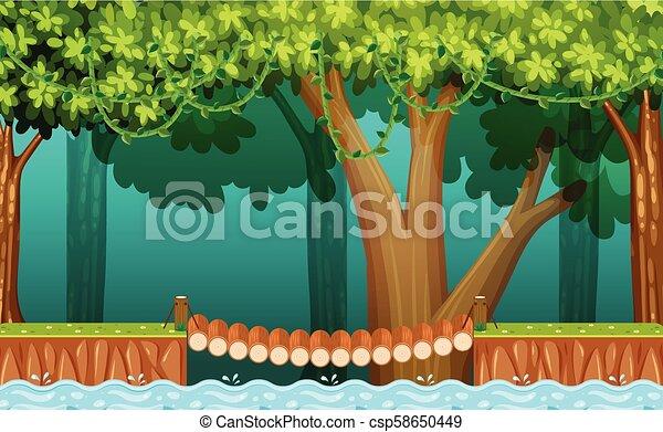 The Wooden Bridge in Forest - csp58650449