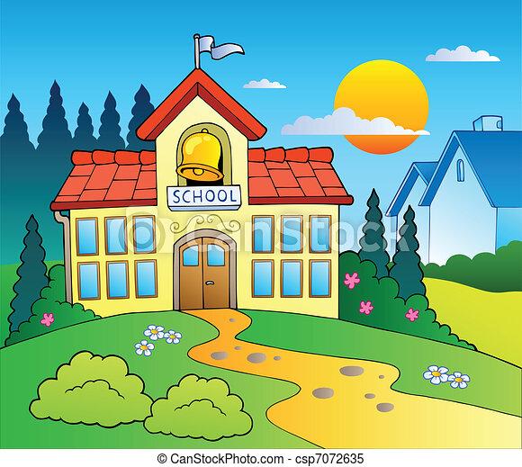 Theme with big school building - csp7072635
