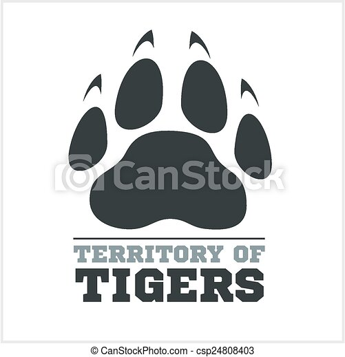 Tiger footprint and fire on light background - csp24808403