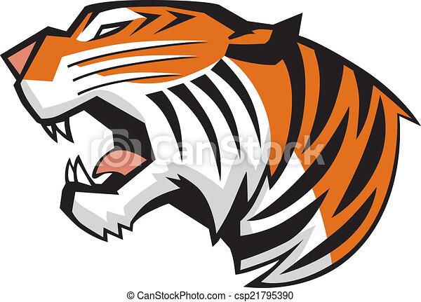 Tiger Head Roaring Side View Vector - csp21795390