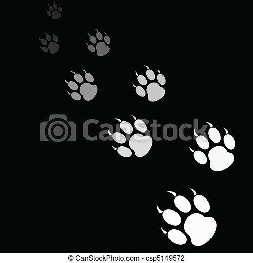 tiger paw print on black background - csp5149572