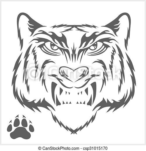 Tigers head and foot print tattoo design. - csp31015170