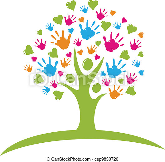 Tree with hands and hearts figures - csp9830720