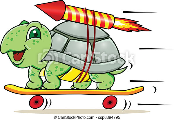 Turtle with rocket - csp8394795