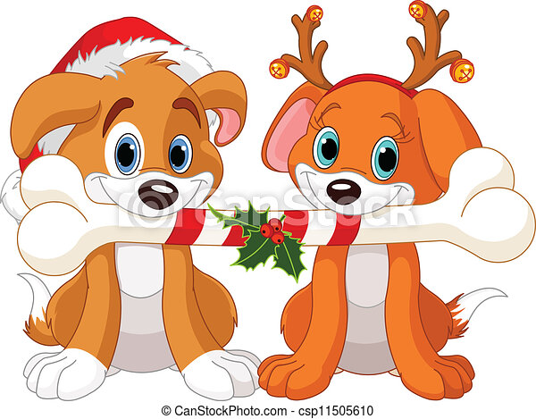 Two Christmas dogs - csp11505610