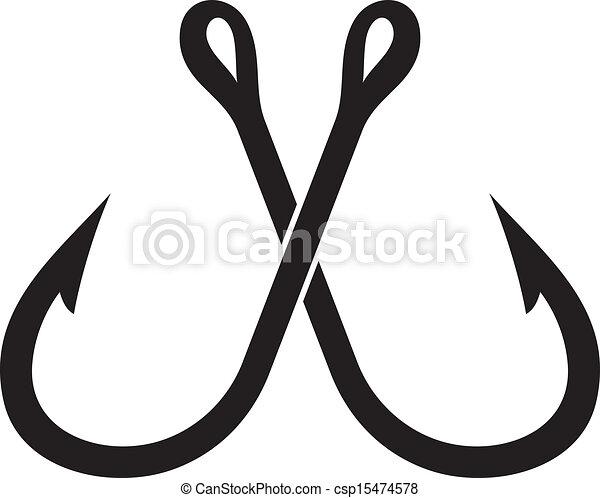 two crossed fishing hook - csp15474578