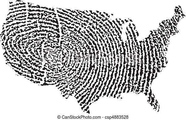 United States Map Fingerprint - csp4883528