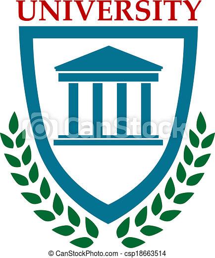 University emblem with laurel wreath - csp18663514