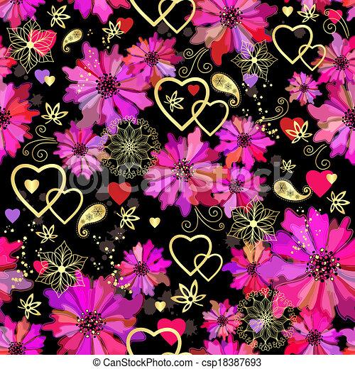 Valentine seamless dark floral pattern - csp18387693
