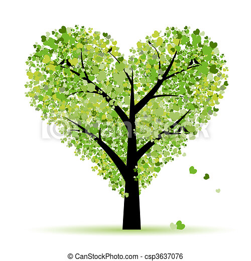 Valentine tree, love, leaf from hearts - csp3637076