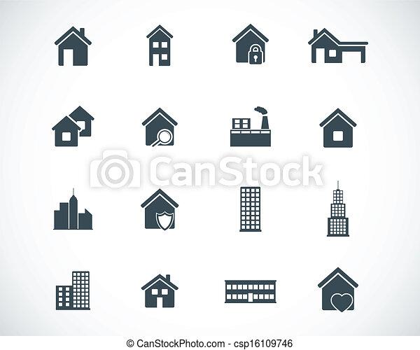 Vector black building icons set - csp16109746