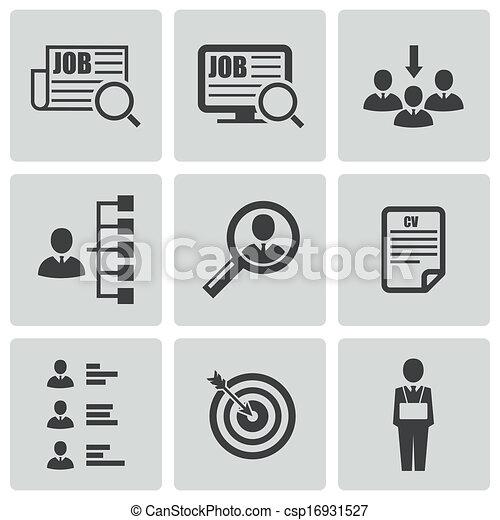 Vector black job search icons set - csp16931527