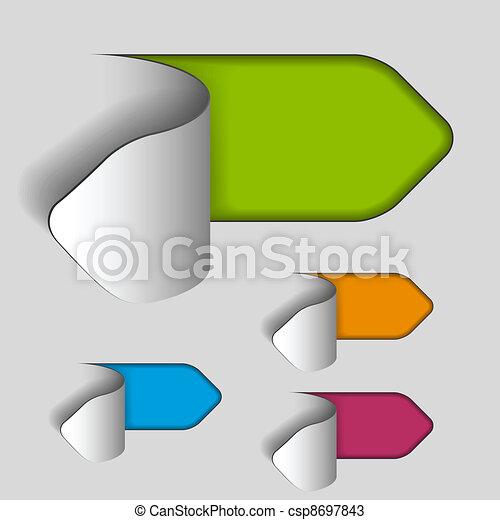 vector blank paper cut out arrow labels - csp8697843