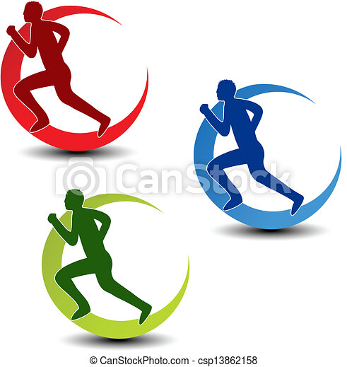 Vector circular symbol of fitness - runner silhouette - csp13862158
