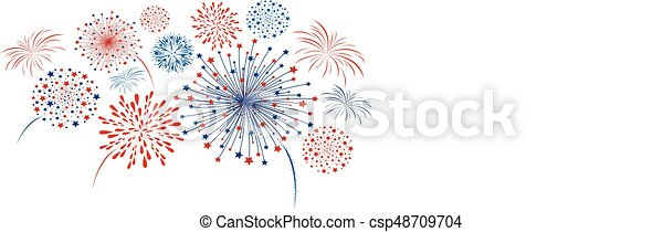 Vector firework design isolated on white background - csp48709704