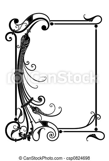 Vector frame with floral decor - csp0824698